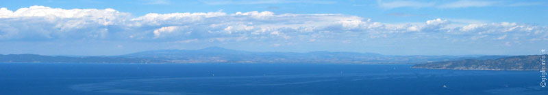 Panoramic view of the Maremma, Talamone and the Monte Argentario from Giglio